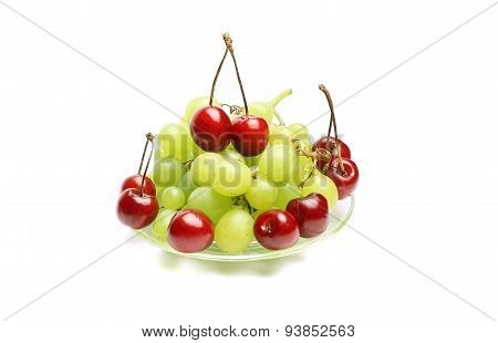 Cherry, Bunch Of Grapes On White Background