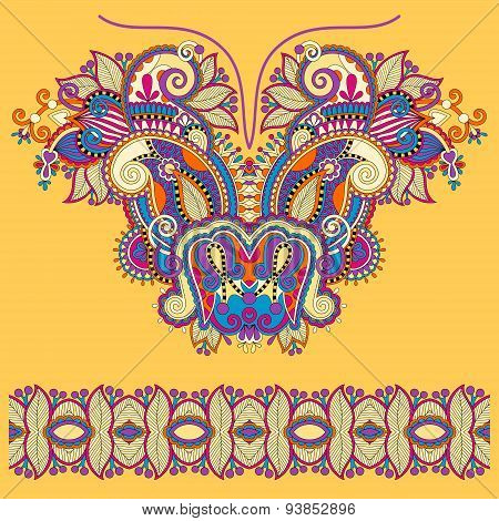 Neckline yellow ornate floral paisley embroidery fashion design,
