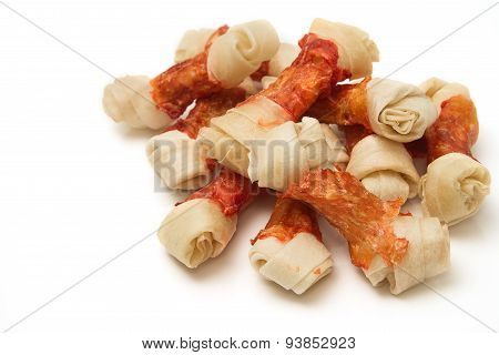 Group Of Dog Treats (dog Food, Dog Chews, Snack), Isolated On White