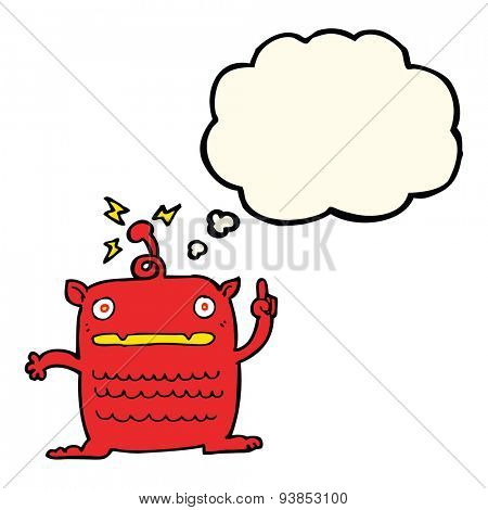 cartoon weird little alien with thought bubble
