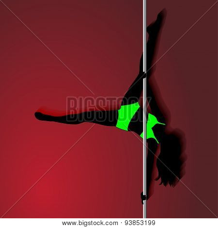 Pole Dancer  In Bright Green Sport Clothes. Sexy Silhouette On Red Background. The Vector