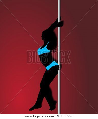 Pole Dancer In Light Blue Sport Clothes, Sexy Silhouette On Red Background. Vecto