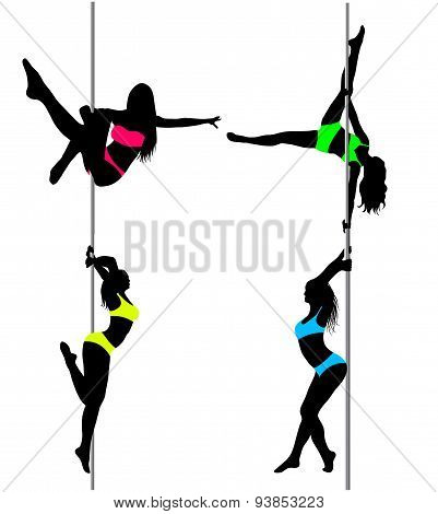 Four Pole Dancers, Sexy Silhouettes.the Vector Illustration