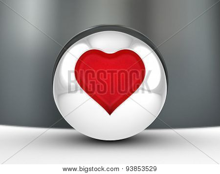 Red Heart embossed in a ball.