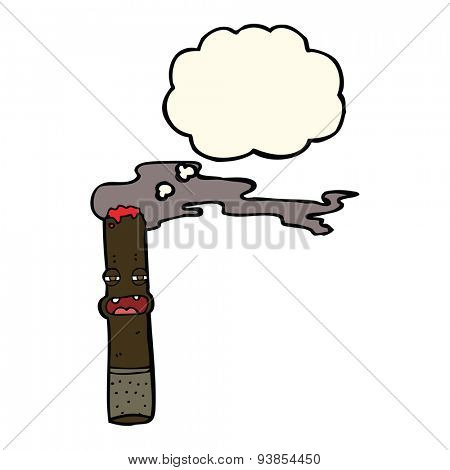 cartoon cigar character with thought bubble