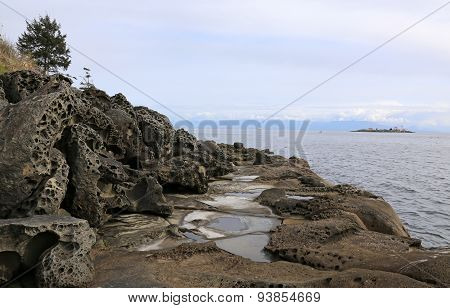 The sculpted coast of Gabriola Island in British Columbia Canada that have been shaped by the Pacific oceans waves.
