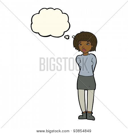 cartoon shy woman with thought bubble