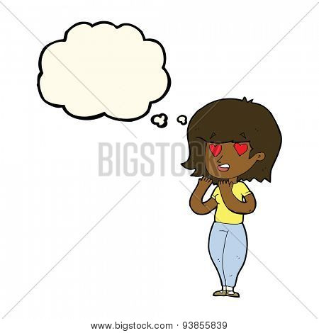 cartoon woman in love with thought bubble