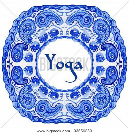 Yoga poster with an ethnic watercolor pattern.