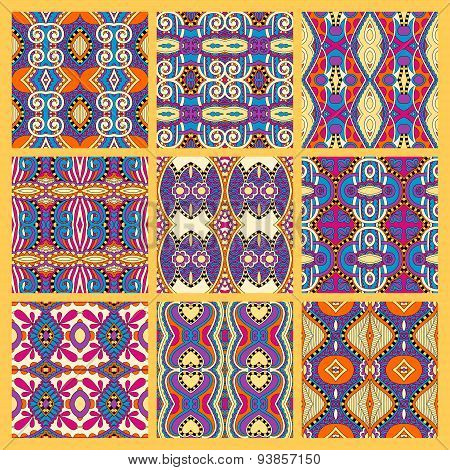 set of yellow seamless colored vintage geometric pattern, textur