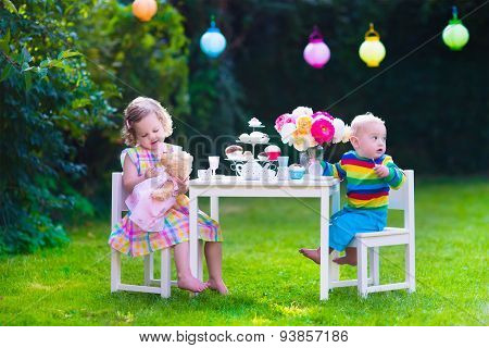 Kids Having Party In The Garden