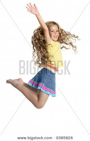 Little Beautiful Girl Fly Jumping Isolated On White
