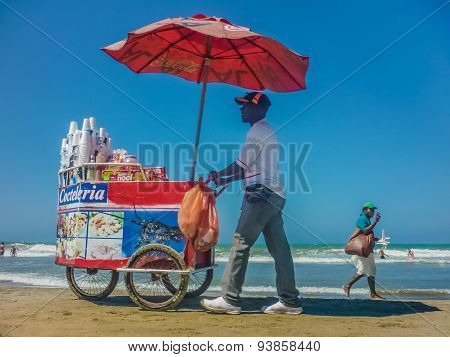 Traditional Colombian Vendors On The Beach