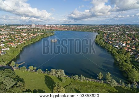 Aerial View Of Damhus Lake, Denmark