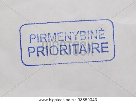 Pirmenybine Prioritaire - Priority mail tag from Lithuania