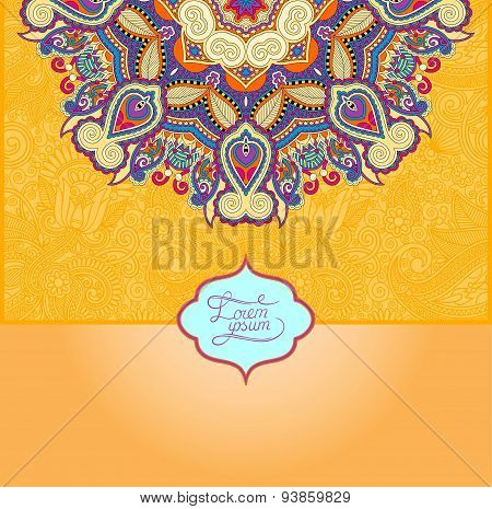 yellow islamic vintage floral pattern, template frame for greeti