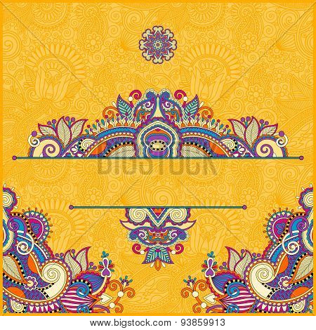 yellow invitation card with neat ethnic background, royal orname