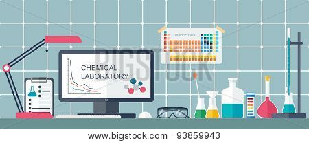 Chemical Laboratory. Workplace. Flat Design. Vector