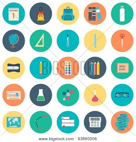 Back To School. School And Education Icons. Flat Design. Vector