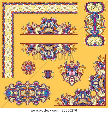 yellow set of paisley floral design elements for page decoration