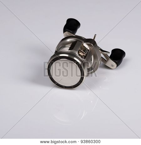 New Fishing Reel. Isolated On White Background