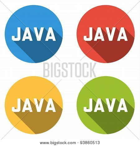Collection Of 4 Isolated Flat Buttons For Java (computer Programming Language)