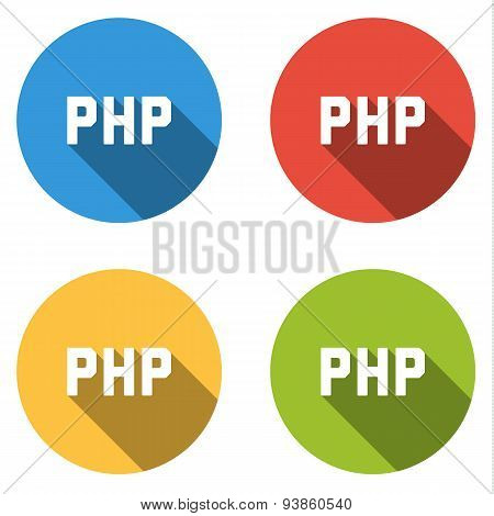 Collection Of 4 Isolated Flat Buttons For For Php (server-side Scripting Language)