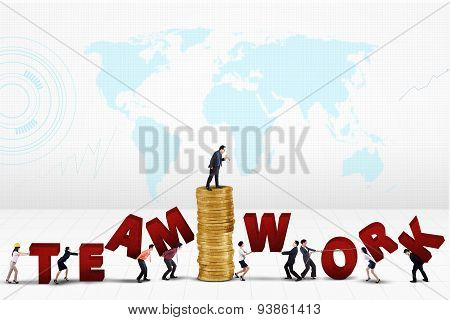 Workers Connecting A Teamwork Text