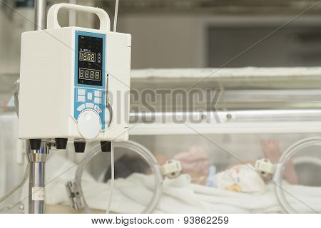 Infusion Pump Feeding Iv Drip Into Baby's Patients