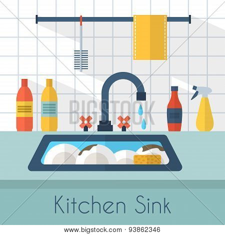Kitchen sink with kitchenware