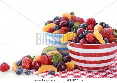 Fresh Colorful Fruit In Breakfast Bowls