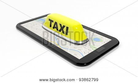 Yellow taxi car roof sign on phone isolated on white background