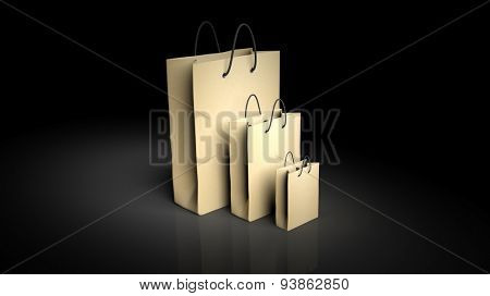 Paper shopping bags isolated on black background