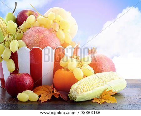 Autumn Harvest Fruit And Vegetables