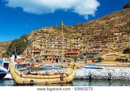 Reed Boat On Isla Del Sol