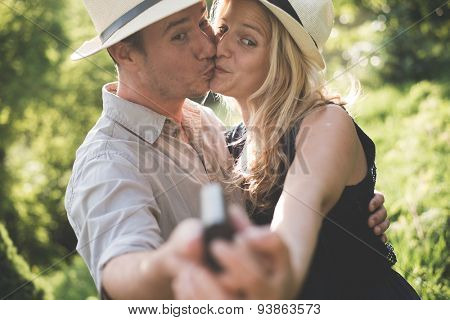 Lovely couple taking self portrait outdoor