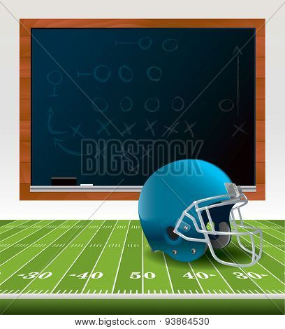 American Football Helmet And Chalkboard