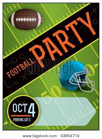 American Football Party Poster Illustration