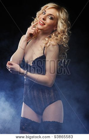 young sexy blond woman in  lingerie