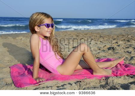 Trendy Fashion Little Summer Girl On Beach