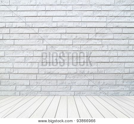 Room Interior With Brick Wall And White Wood Floor