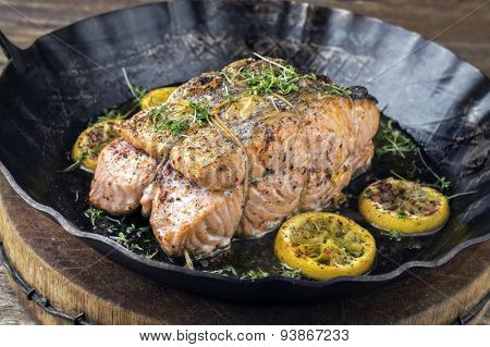 Salmon Fillet in Frying Pan