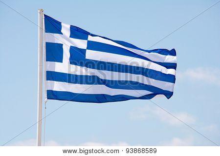 Greek flag waving on the wind