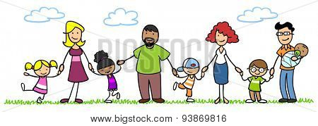 Happy patchwork family with children and baby in summer in nature holding hands