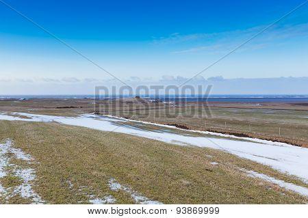 Beautiful landscape in glass green field