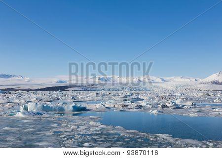 Jokulsarlon is a large glacial lake in southeast