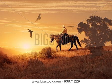 A cowboy riding his horse into the sunset with birds flying above.
