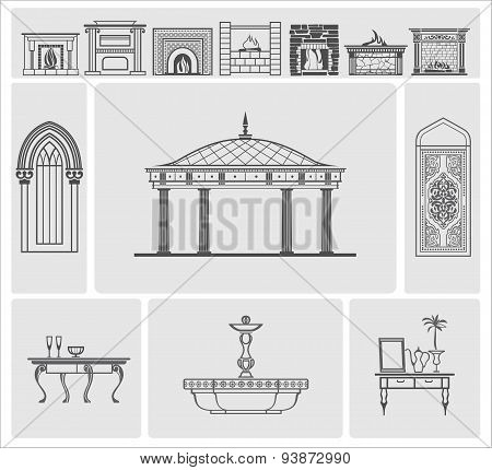Icons Of Fireplaces And Architectural Elements