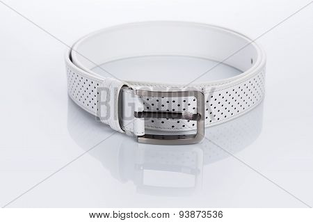 white Women's belt with rhinestones