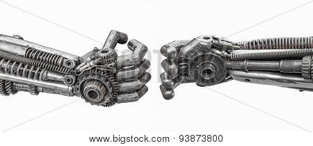 Hand Of Metallic Cyber Or Robot Made From Mechanical Ratchets Bolts And Nuts